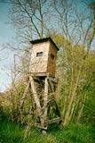 Wooden lookout tower for hunting in the woods Stock Photo