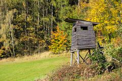 Wooden lookout tower for hunting in the woods royalty free stock photo