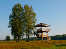 Wooden lookout tower. Near Bialowieza primeval forest (Poland Royalty Free Stock Photos