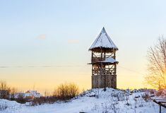 Wooden lookout tower. Old Russian fortifications Royalty Free Stock Images