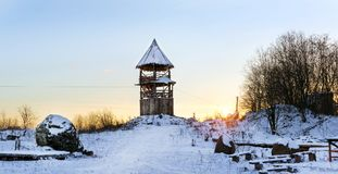 Wooden lookout tower. Old Russian fortifications Royalty Free Stock Photography
