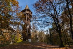 Wooden lookout turret near Sopron, Hungary royalty free stock photos