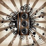 Wooden Loudspeaker. Vector illustration of an Abstract Loudspeaker made of wood and iron Stock Photo