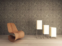 Wooden lounge chair against mosaic pattern wall Royalty Free Stock Photo