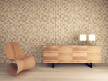 Wooden lounge chair against mosaic pattern wall Royalty Free Stock Photos