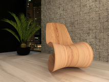 Wooden lounge chair against mosaic wall Stock Images