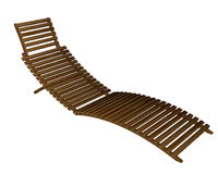 Wooden lounger - 3D render Royalty Free Stock Photos