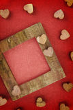 Wooden love frame Stock Image