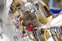 Wooden love lock Stock Photos