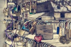 Wooden love lock Royalty Free Stock Images