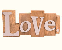Wooden love sign isolated on white Stock Photo