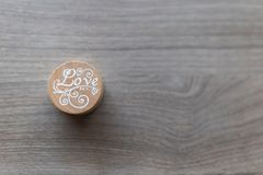 Wooden `Love` Stamp stock photos