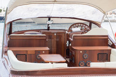 Wooden luxury boat Stock Images