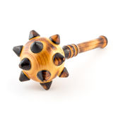 Wooden mace isolation on white. Wooden brown mace with spikes isolation on white stock photos
