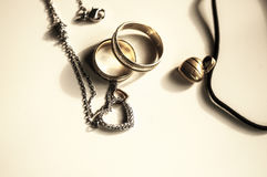 Wooden magic amulet in the shape of heart. Selective focus. Royalty Free Stock Image