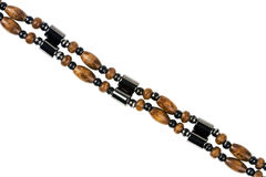 Wooden and magnetic beads necklace detail Stock Images