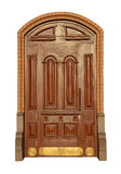 Wooden mahogany door Stock Images