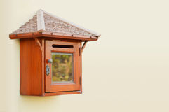 Wooden mail box. Old wooden mail box isolated royalty free stock image