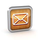 Wooden mail icon Royalty Free Stock Photography