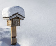 Wooden Mailbox in Winter Stock Photos