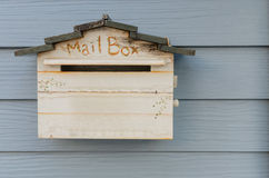 Wooden mailbox on wood wall Stock Photography