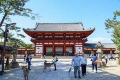 Wooden main building of Todaiji temple in Nara Royalty Free Stock Images