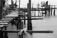 Wooden makeshift bridge - Black and White Royalty Free Stock Photos