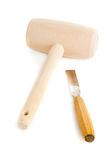 Wooden mallet and chisel isolated on white Stock Photo