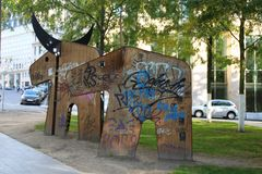 Wooden mammoth in Brussels. royalty free stock photo