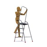 The wooden man climbs a ladder. Front view. 3D rendering Royalty Free Stock Photography