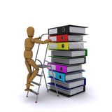 The wooden man climbs a ladder on a stack of books. 3D rendering Stock Image