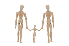 Wooden man with family Stock Images