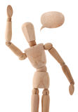Wooden man flapping by his hand. Isolated on white background Royalty Free Stock Photos