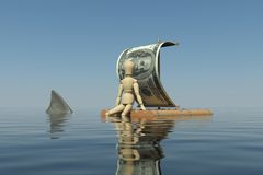 The wooden man floats on a raft. With a sail from the dollar. The man lowered his leg in the water. The water can be seen shark fin Royalty Free Stock Photography