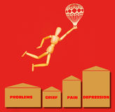 The wooden man flying over problems, grief, pain, depression with airship on red. Background vector illustration