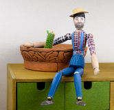 Wooden man hand-painted with cactus. Figure of wooden man hand-painted Royalty Free Stock Photos