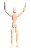 Wooden man with hands raised Royalty Free Stock Image