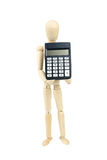 Wooden man hold calculator, isolated on white Stock Photography
