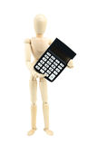 Wooden man hold calculator, isolated on white Royalty Free Stock Photo