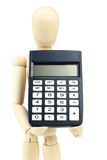 Wooden man hold calculator on white background Stock Photo