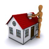 The wooden man and house with red roof. The wooden man holding both hands over the chimney house with red roof. 3D rendering vector illustration