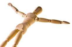 Wooden man lying on his back Stock Images