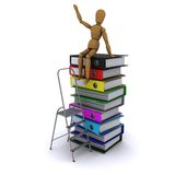 The wooden man on a pile of books. The wooden man climbed the ladder on the stack of books. 3D rendering Royalty Free Stock Photo