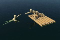 Wooden man on a raft pulled a drowning man's hand. The wooden man on a raft pulled a drowning man's hand. 3D rendering Stock Photography