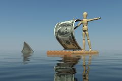 The wooden man on a raft with a sail from a dollar. Bill. Shark fin is near the raft. 3D rendering Stock Photography