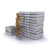 Wooden man rises to the stack of dollars. The wooden man climbs a ladder on a stack of dollars. 3D rendering Stock Image