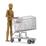 The wooden man rolls the cart Stock Image