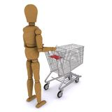 The wooden man rolls trolley (rear view) Royalty Free Stock Images