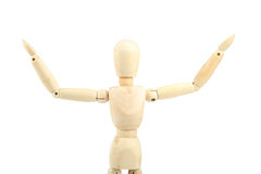 Wooden man on white background Stock Images