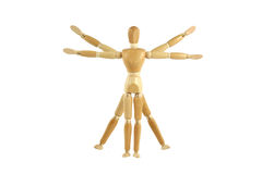Wooden manikin Vitruvian Man Stock Images